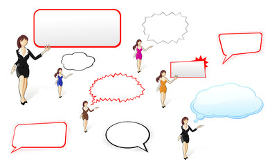 Businesswomen with banner and speech bubbles