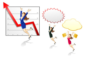 Businesswomen jumping with speech bubbles and arrow