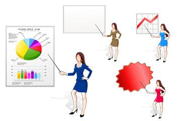 Businesswomen pointing