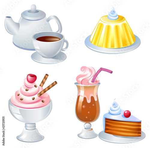 Sweet food and drinks, vector image.