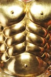Close-up of golden armour