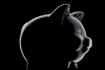 Black piggy bank