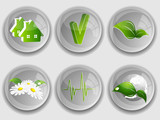 environmental buttons set with shadows. Eps10 poster