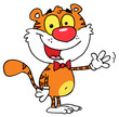 Cartoon Character Animal Tiger Waving A Greeting
