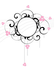 Banner with flowers and design elements
