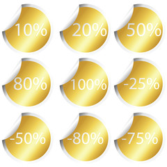 Golden stickers with procentual numbers