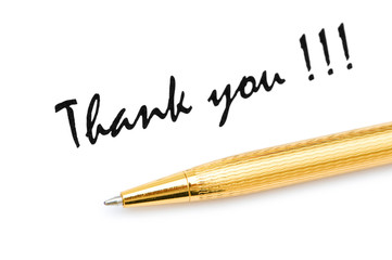 Thank you message and pen on white