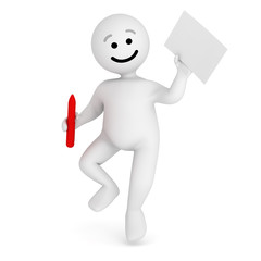 Funny smile character jump with contract and pen