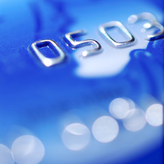 closeup of blue credit card