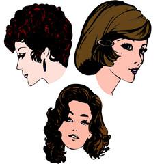 planche 3 visages de femme, illustration