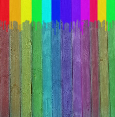 Original background in the form of a multi-coloured wooden wall