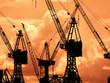 Scherenschnitt, Hafenkräne im Hamburger Hafen