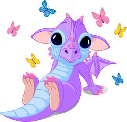 Cute sitting baby dragon