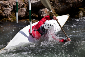 kayaker maneuvering