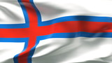 Creased Faroe islands flag in wind with seams and wrinkle poster