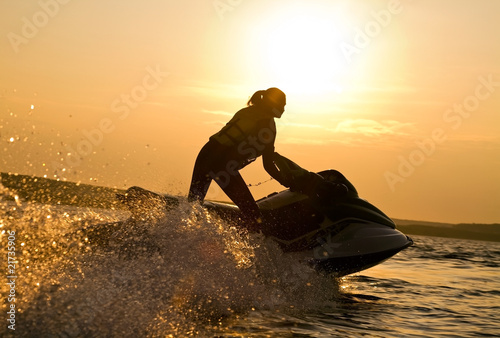 Canvas Water Motorsp. beautiful girl riding her jet skis