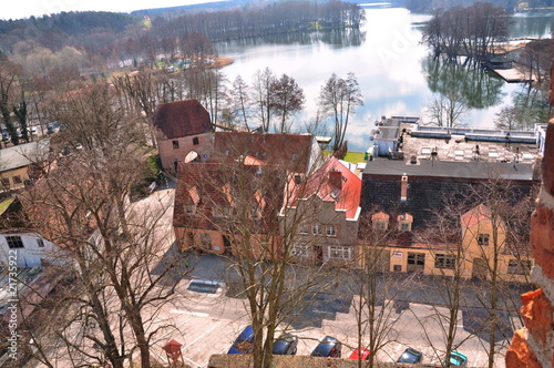 View of tourist town from castle tower. Lagow in Poland