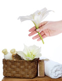 purity spa still life with bath things - soap, lotion, towel poster