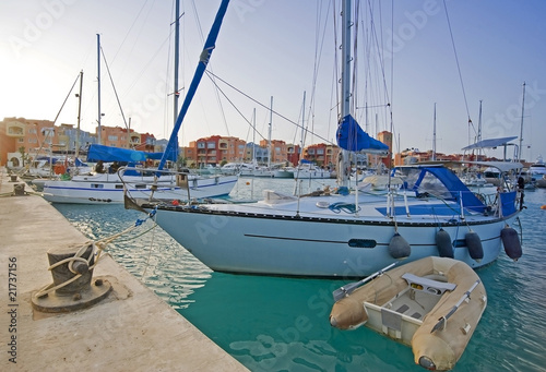 Sailing yachts in a private marina