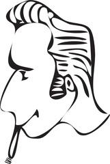 cartoon rockabilly hairstyle with cigar