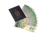 Canadian passport and canadian money