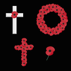 remembrance vectors isolated on black