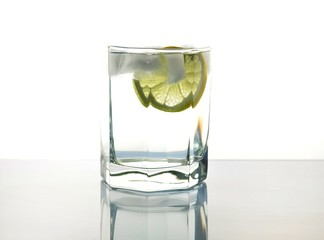 water with ice and lemon