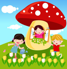 cute mushrooms and kids