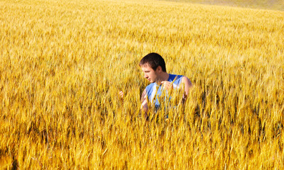 The guy in a wheaten field