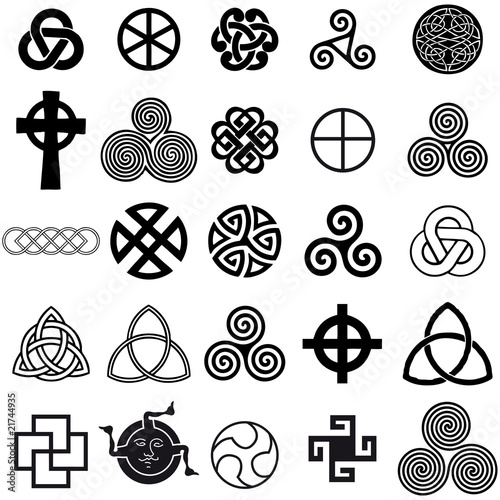 Set of Celtic symbols icons vector. Tattoo design set.
