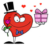 Gentleman Heart Holding A Single Rose And A Gift poster