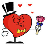 Gentleman Heart Holding Roses poster