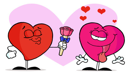 Sweet Male Heart Giving Roses To Female Heart