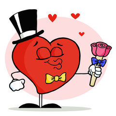 Gentleman Heart In A Hat And Bow Tie