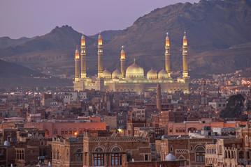 Sanaa. Night view on AL-Saleh mosque