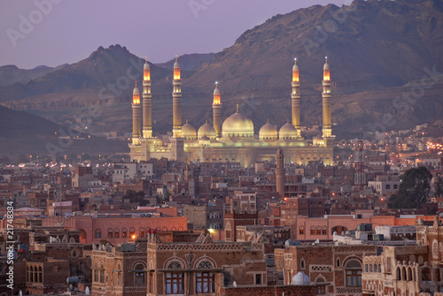 Sanaa. Night view on AL-Saleh mosque