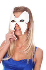 beautiful woman with cyan eyes and mask