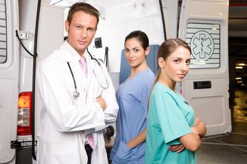 Confident paramedics team