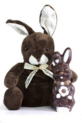 Chocolate and soft toy bunnies