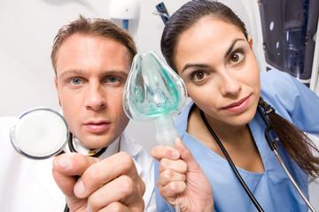 Putting an oxygen mask