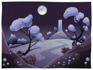 Landscape with tower in the night. Vector illustration.
