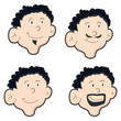 set of four mens face with different style