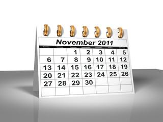 Desktop Calendar.  November, 2011