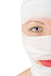 woman with bandages half portrait