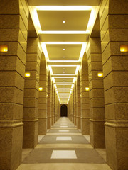 long corridor in modern building