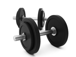 3d render of two dumbbells on white