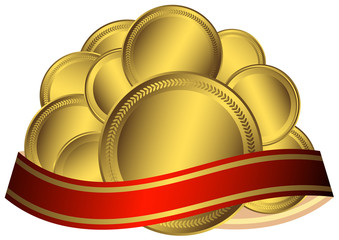 Gold medals with red ribbon (vector)