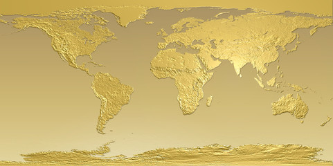 Golden planet earth map