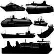 Set of vector silhouettes of ships and cruise ship - 21765186