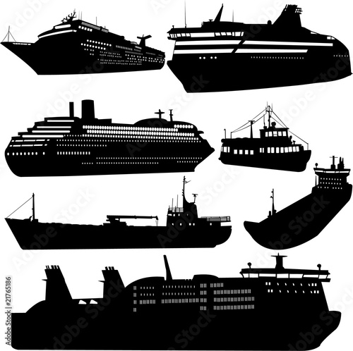 Set of vector silhouettes of ships and cruise ship